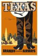 Vintage Travel Poster Texas Braniff Airways